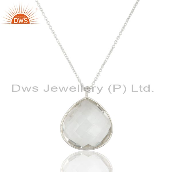 925 Solid Sterling Silver Crystal Quartz Gemstone Bezel Set Pendant With Chain