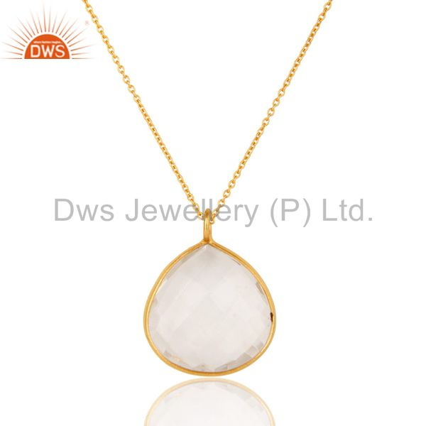18K Yellow Gold Plated Sterling Silver Crystal Quartz Bezel Set Pendant W/ Chain