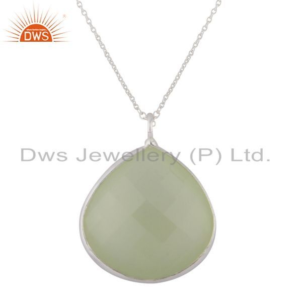 925 Sterling Silver Green Chalcedony Gemstone Bezel Set Drop Pendant With Chain