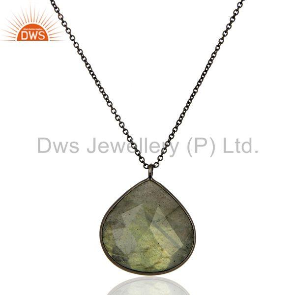 Labradorite Gemstone Rhodium Plated Silver Pendant Necklace Jewelry