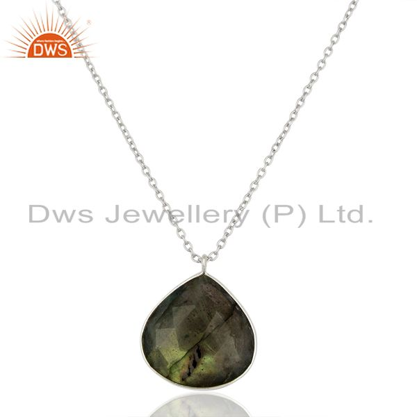 Natural Labradorite Gemstone Sterling Silver Chain Necklace Jewelry