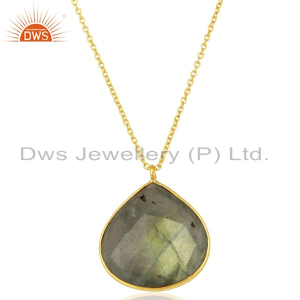 18k yellow gold plated sterling silver labradorite bezel set pendant with chain
