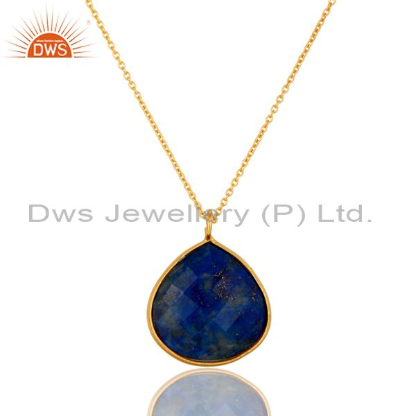 18K Yellow Gold Plated Sterling Silver Faceted Lapis Lazuli Pendant With Chain
