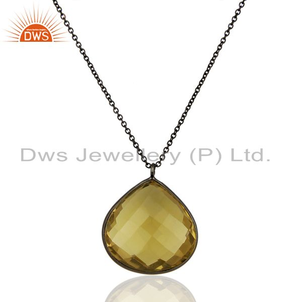 Black Rhodium Plated Lemon Topaz Gemstone Silevr Pendant Manufacture
