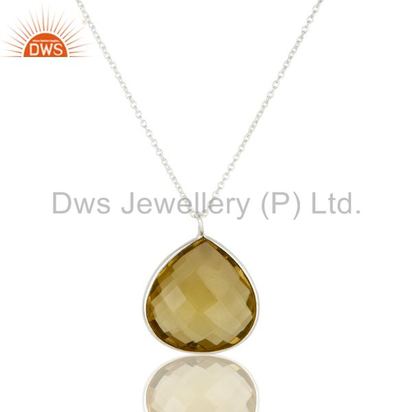 Sterling Silver and Lemon Topaz Gemstone Bezel Set Simple Handmade Necklace