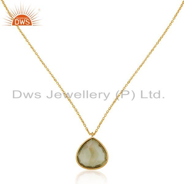 Lemon topaz gemstone gold plated 925 silver chain pendant manufacturer