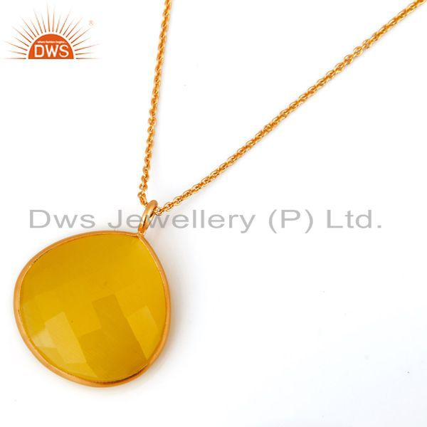 18k Gold Plated Sterling Silver Chalcedony Bezel Set Pendant Chain Necklace