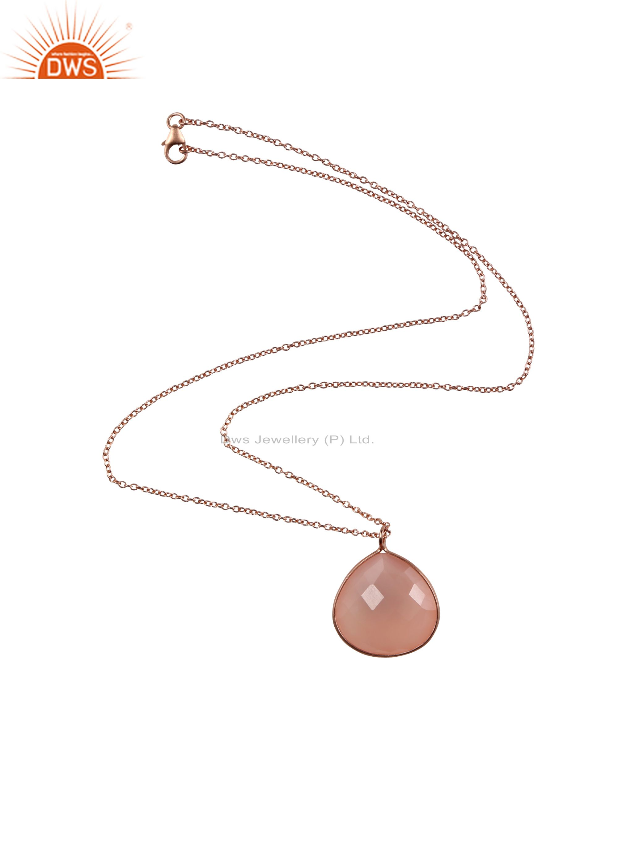 18k rose gold plated sterling silver rose chalcedony bezel pendant with chain
