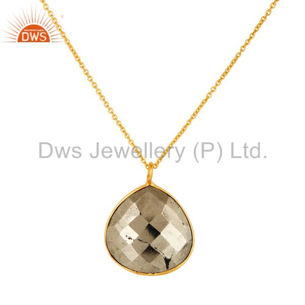 18K Yellow Gold Over Sterling Silver Golden Pyrite Bezel Set Pendant With Chain
