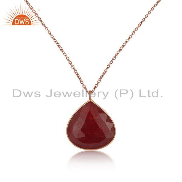 Dyed Ruby Gemstone Rose Gold Plated Sterling Silver Chain Pendant Wholesaler