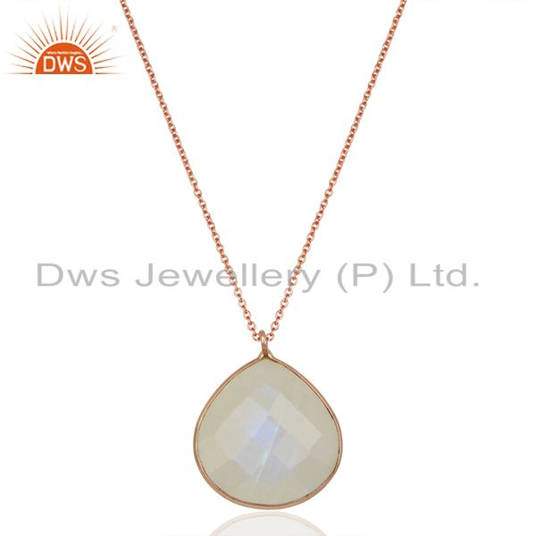 Rainbow Moonstone 14K Rose Gold Plated 925 Sterling Silver Chain Pendant Jewelry