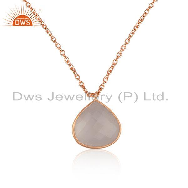 Rose Quartz Gemstone Rose Gold Plated Silver Chain Pendant Jewelry