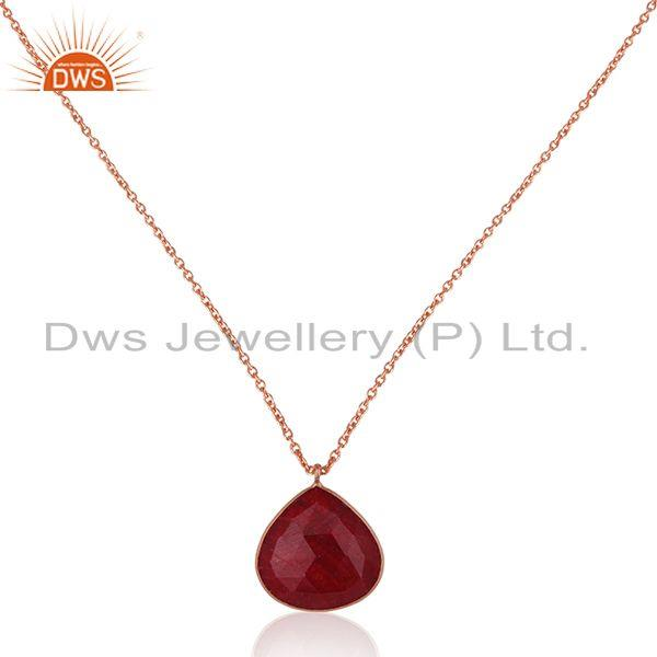 Rose gold plated 925 silver ruby corundum gemstone pendant with chain jewelry