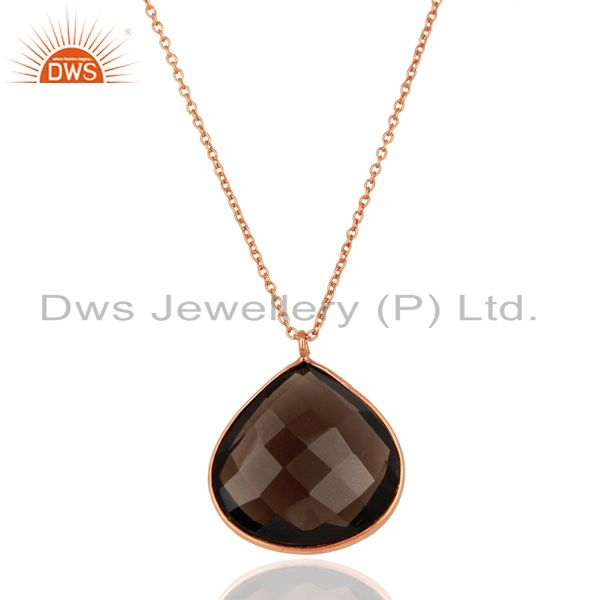 Rose Gold Plated Silver Smoky Quartz Gemston Pendant Jewelry Supplier