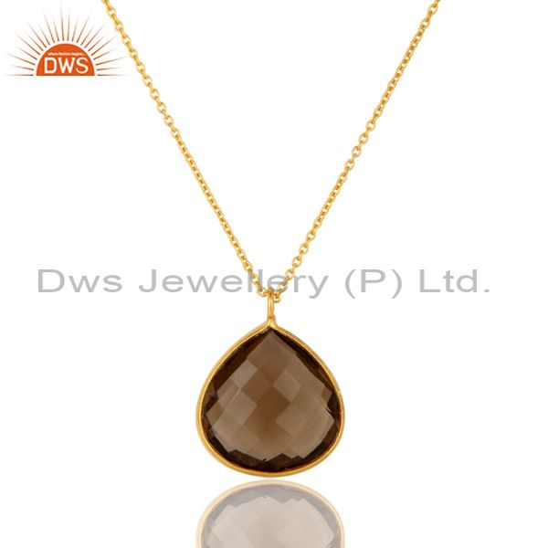 Smoky Quartz Drop 18K Yellow Gold Plated 925 Sterling Silver Chain Pendant