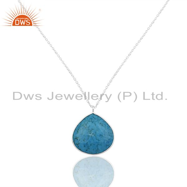 Turquoise Gemstone 925 Silver Fine Silver Chain Pendant Wholesale