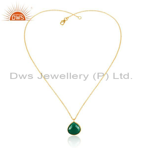 Green onyx set gold on silver statement pendant and necklace