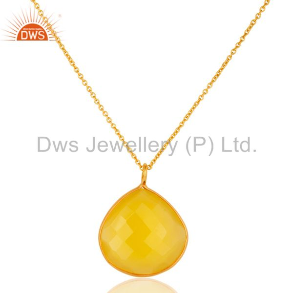 18k gold over sterling silver yellow chalcedony bezel pendant with 18