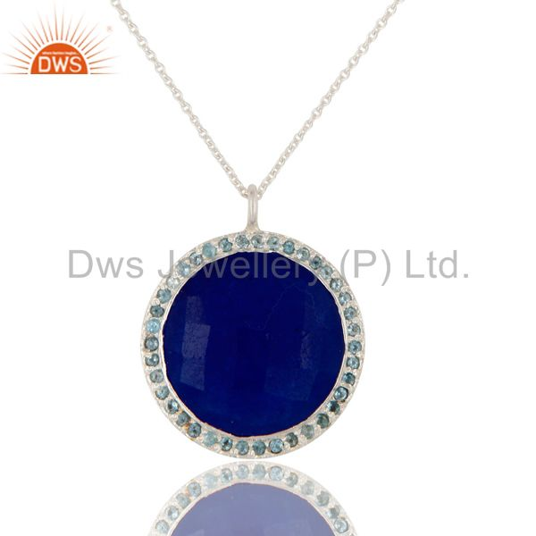 925 Sterling Silver Blue Aventurine Bnd Blue Topaz Gemstone Pendant With Chain