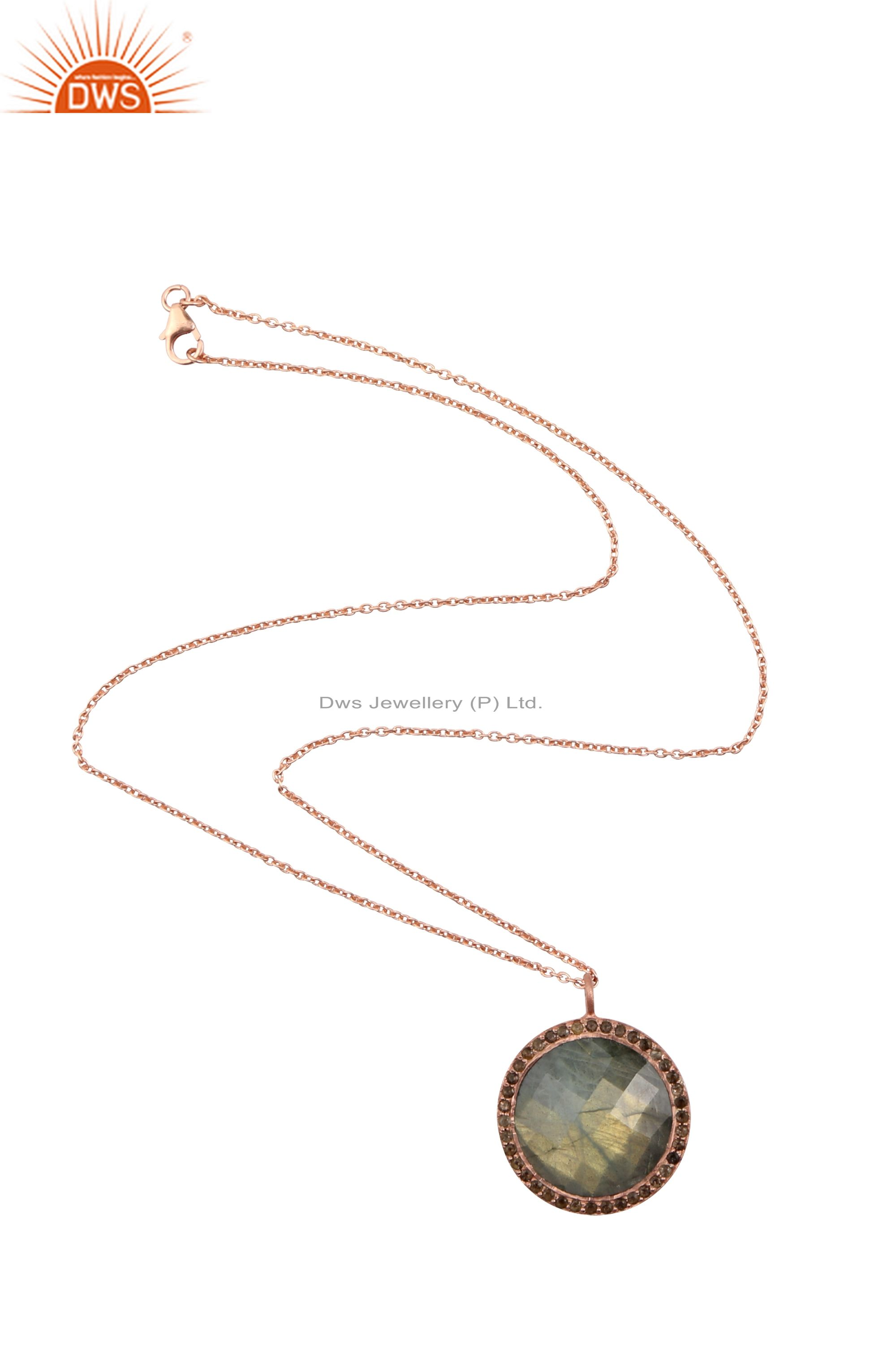 18K Rose Gold Plated Sterling Silver Labradorite And Smoky Quartz Halo Pendant