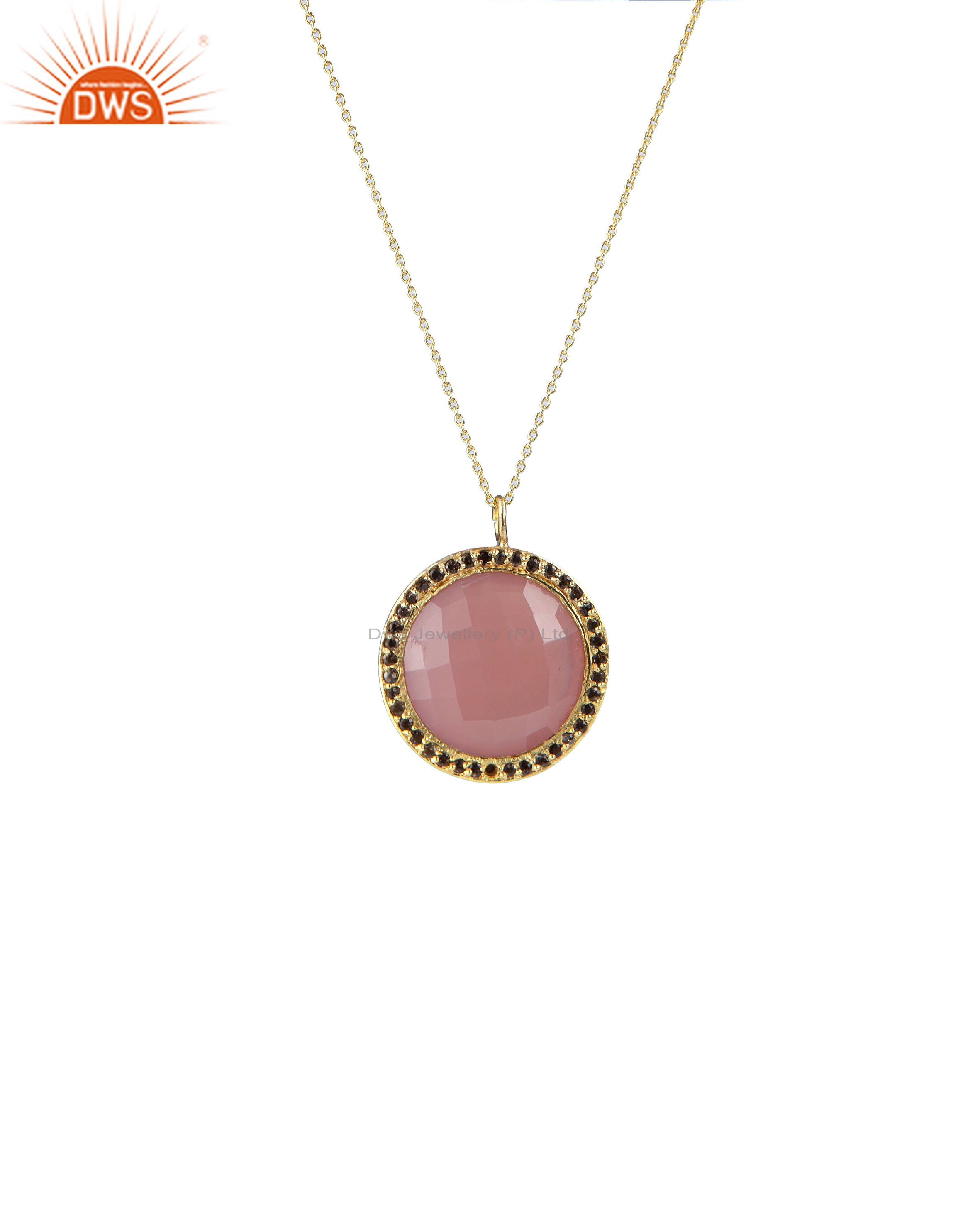18k gold plated silver rose chalcedony and smoky quartz halo pendant with chain
