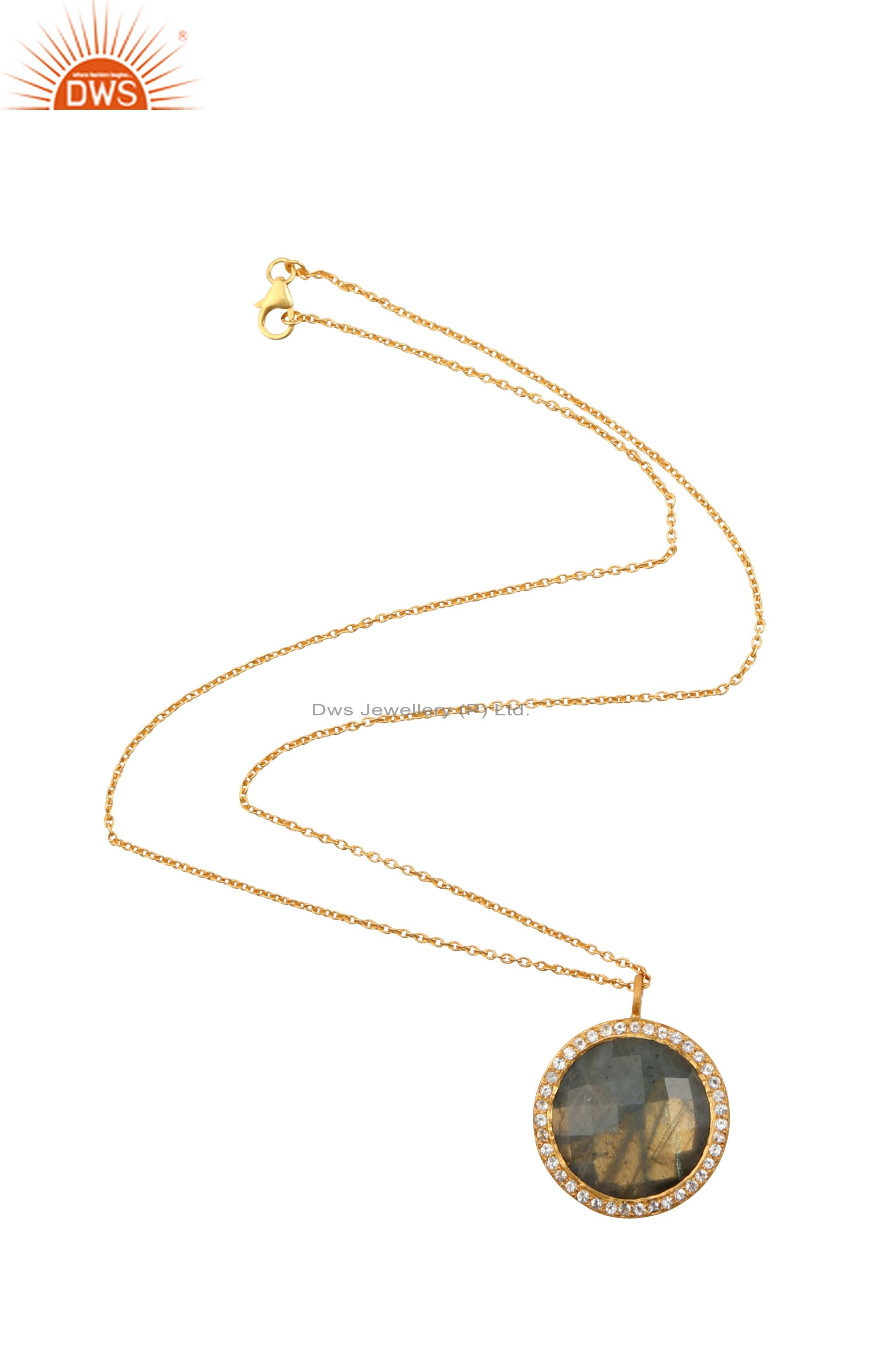 18K Gold Plated Sterling Silver Labradorite And White Topaz Halo Pendant Chain