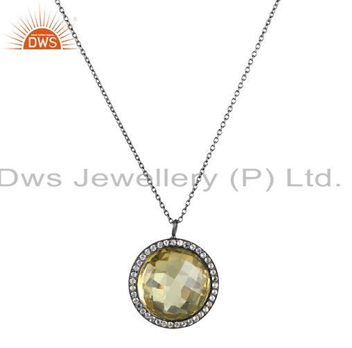 Oxidized Sterling Silver Lemon Topaz And White Topaz Halo Pendant With Chain