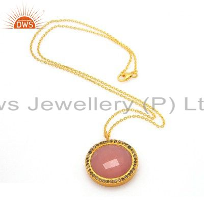 18K Yellow Gold Plated Silver Rose Chalcedony And White Topaz Pendant With Chain