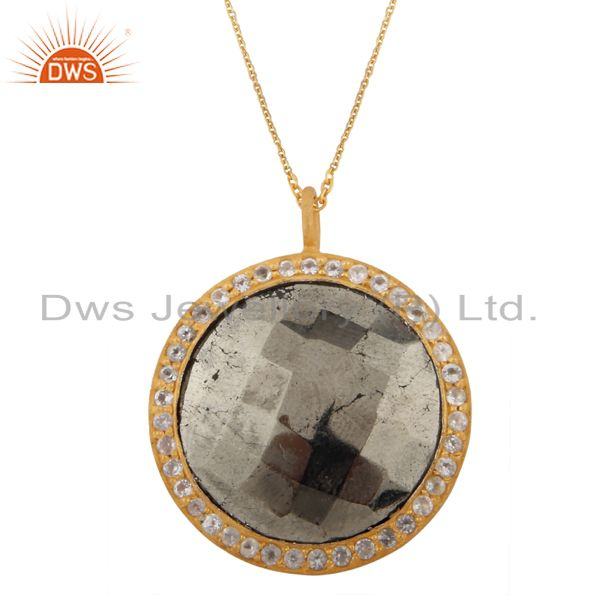 18K Yellow Gold Plated Sterling Silver Pyrite And White Topaz Pendant With Chain