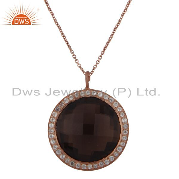18K Rose Gold Plated Silver Smoky Quartz And White Topaz Halo Pendant With Chain