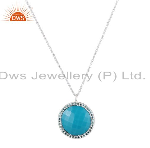 925 Sterling Silver Blue Topaz And Turquoise Gemstone Halo Pendant With Chain