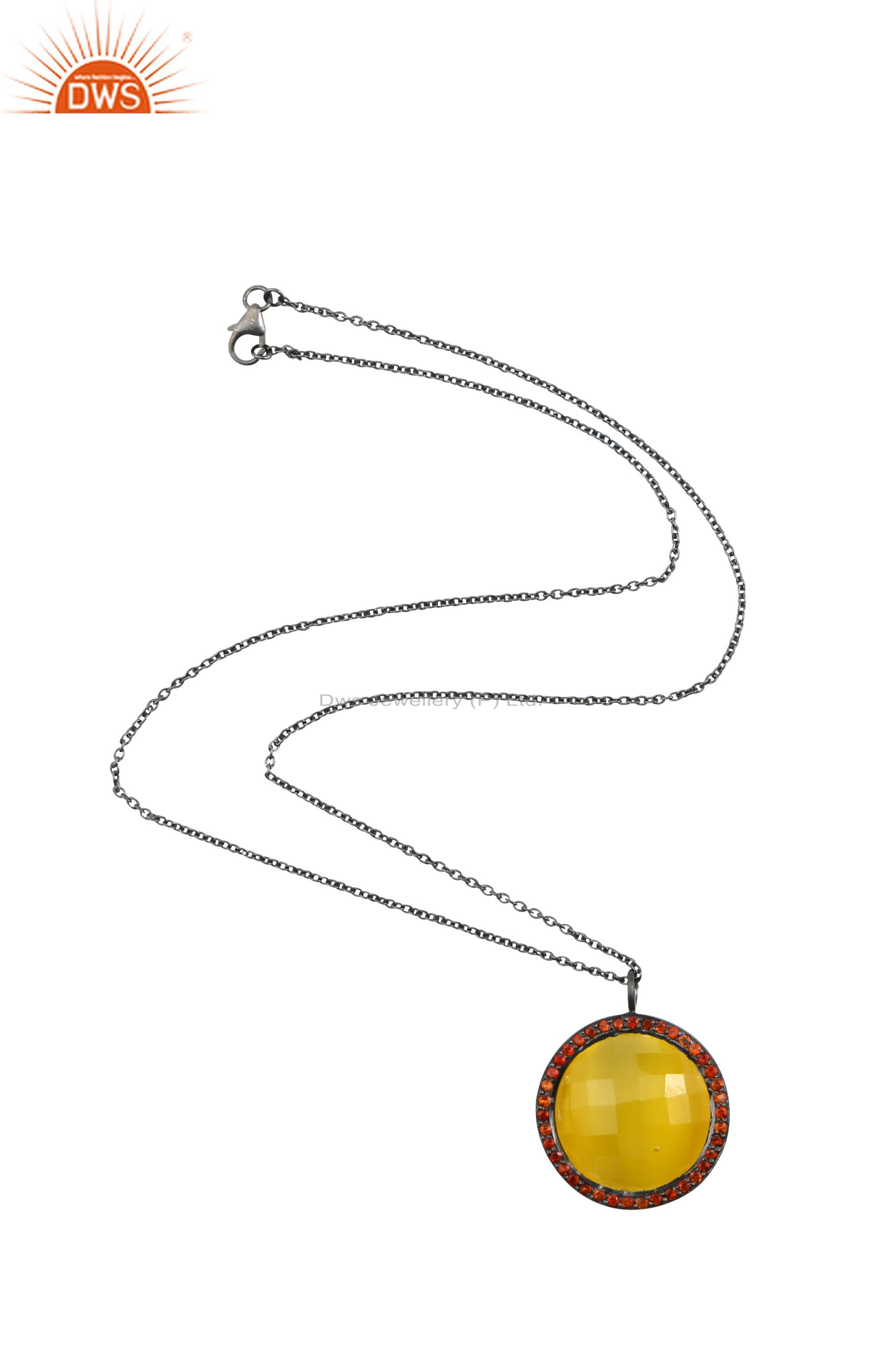 Oxidized 925 Sterling Silver Yellow Moonstone And Citrine Halo Pendant Necklace
