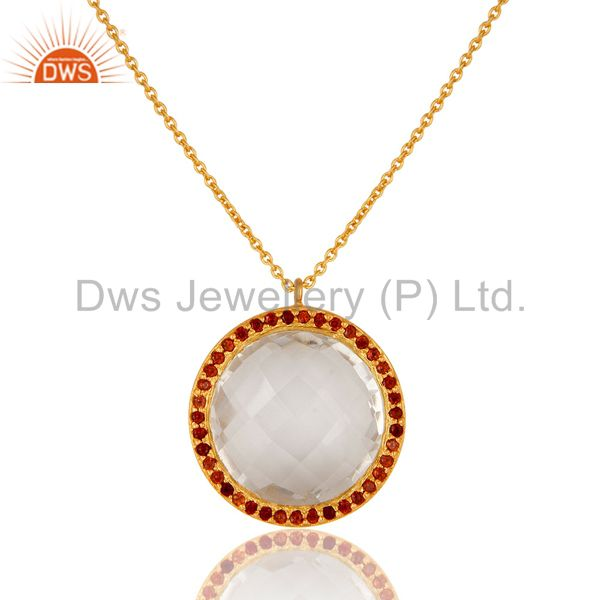 22K Yellow Gold Plated Sterling Silver Crystal Quartz & Garnet Pendant Necklace