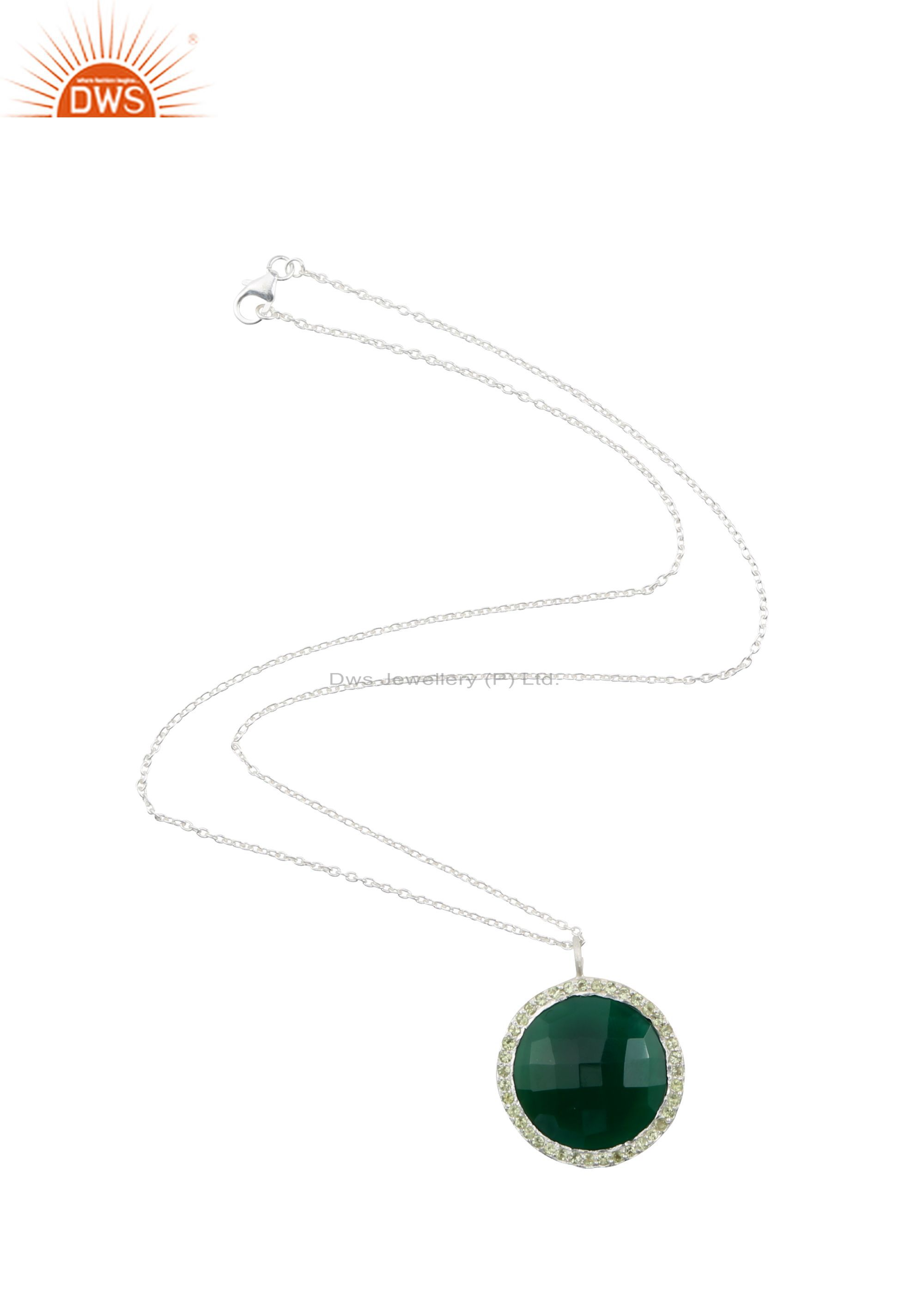 925 Sterling Silver Green Onyx And Peridot Gemstone Pendant With Chain