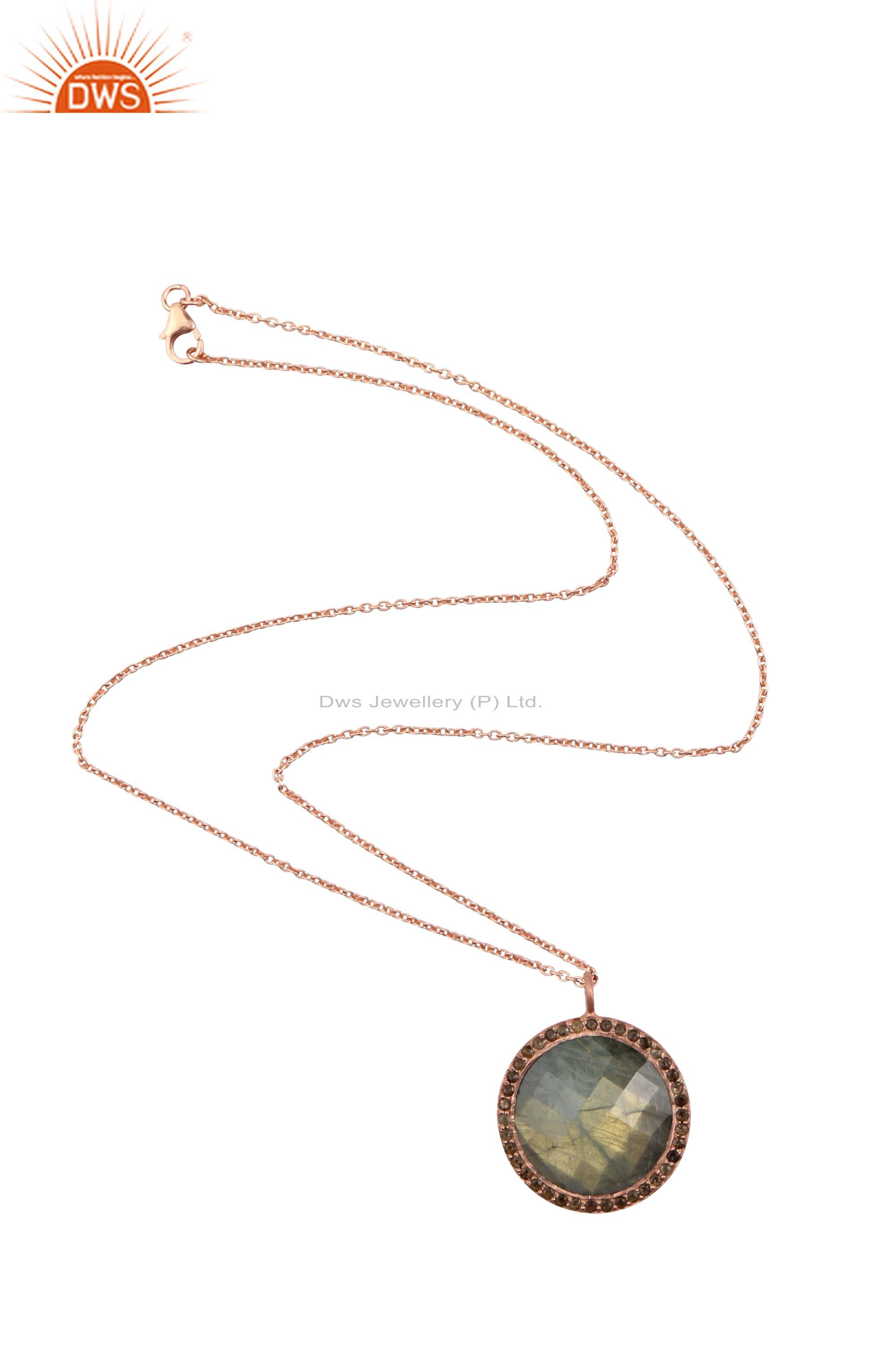 18K Rose Gold Plated Silver Labradorite And Smoky Quartz Halo Pendant With Chain