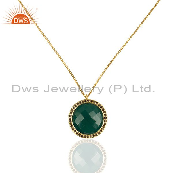 18k yellow gold plated silver green onyx and smoky quartz pendant with chain