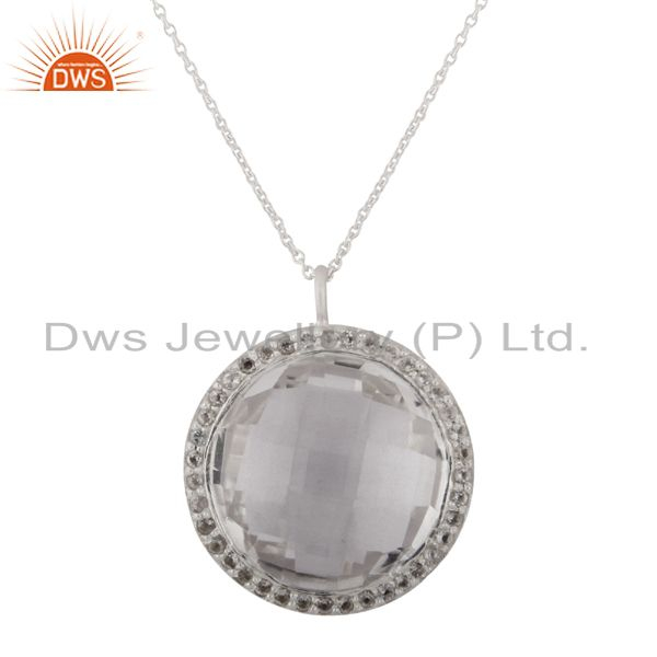 925 Sterling Silver Crystal Quartz And White Topaz Halo Pendant With Chain