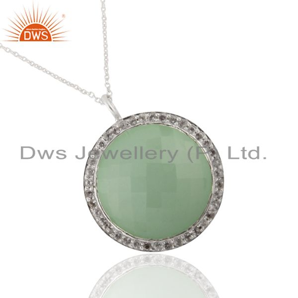 925 Sterling Silver Aqua Chalcedony And White Topaz Halo Pendant With Chain