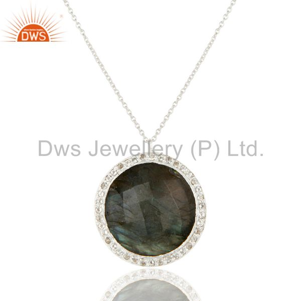 925 Sterling Silver Labradorite And White Topaz Halo Style Pendant With Chain