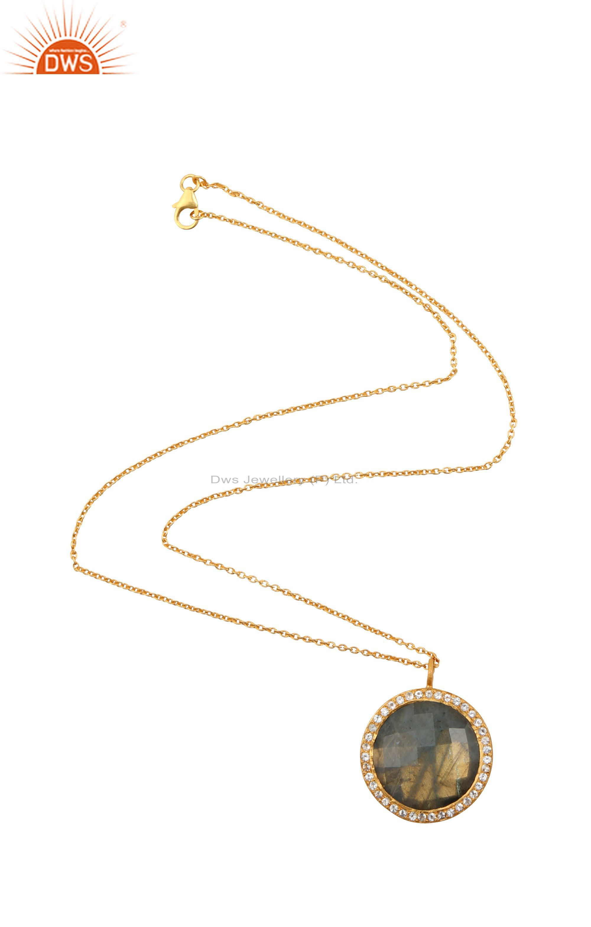 18K Yellow Gold Plated Silver Labradorite And White Topaz Pendant With Chain