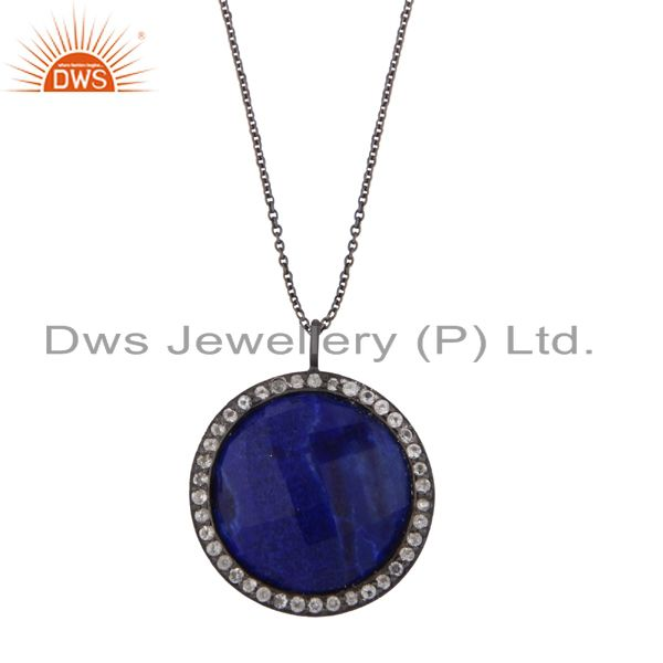Oxidized Sterling Silver Lapis Lazuli And White Topaz Halo Pendant With Chain