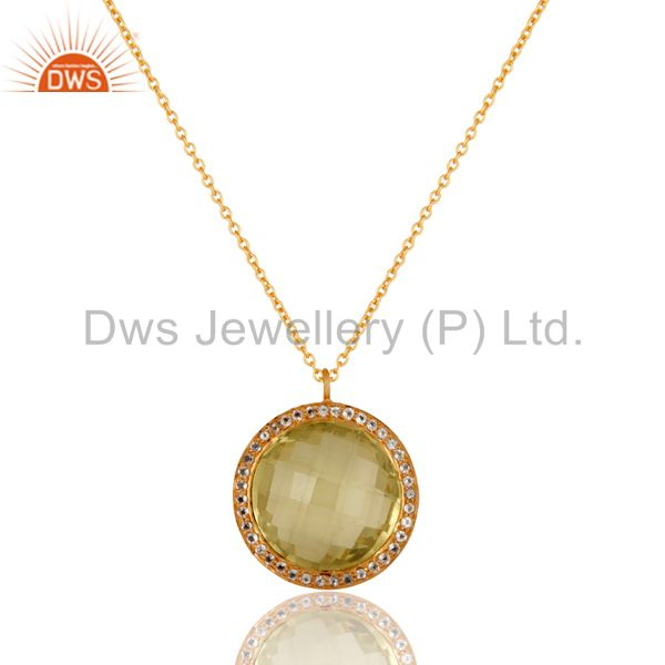 Lemon Topaz and White Topaz 18K Gold Plated Sterling Silver Pendant Necklace