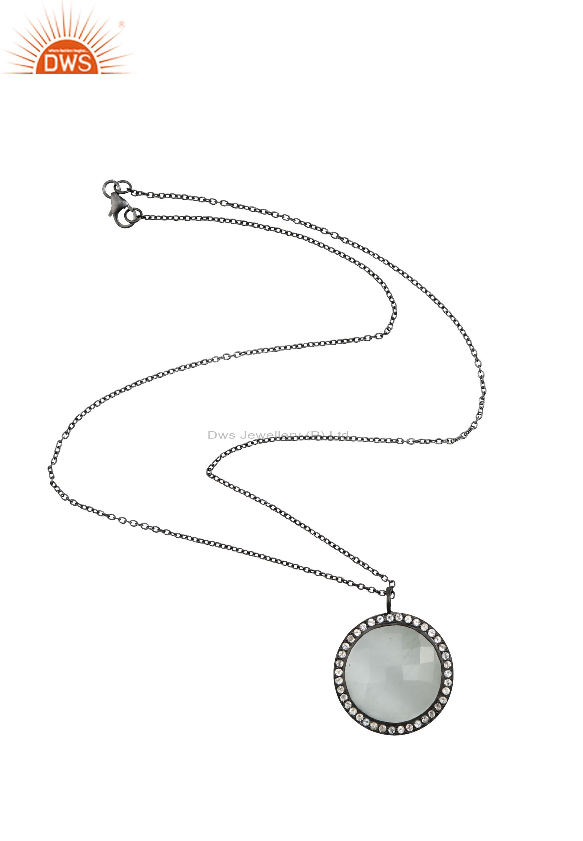 Oxidized sterling silver white moonstone and white topaz pendant with chain