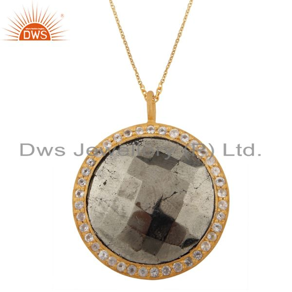 18K Yellow Gold Plated Silver Pyrite And White Topaz Halo Pendant With Chain
