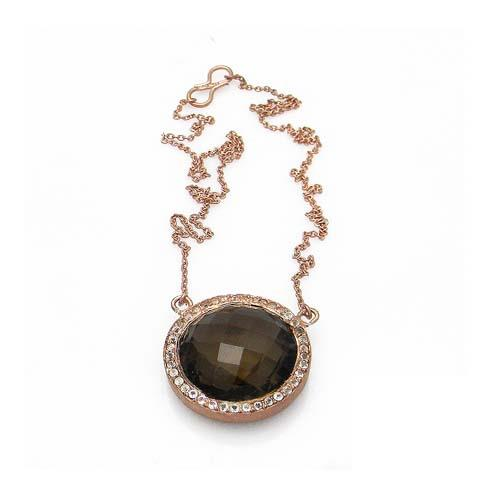 18k rose gold plated 925 silver smoky quartz and white topaz pendant with chain