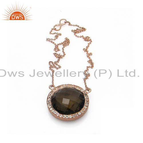 Smoky quartz and white topaz 18k rose gold plated sterling silver pendant chain