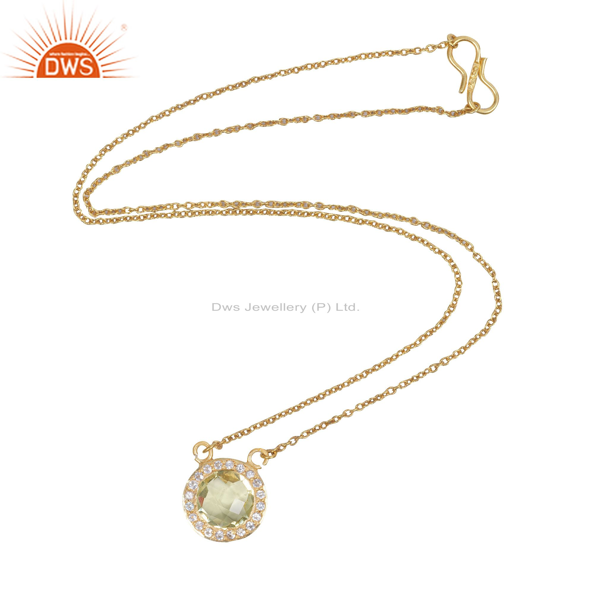 18K Yellow Gold Plated Solid Silver Lemon TOpaz And White Topaz Chain Necklace