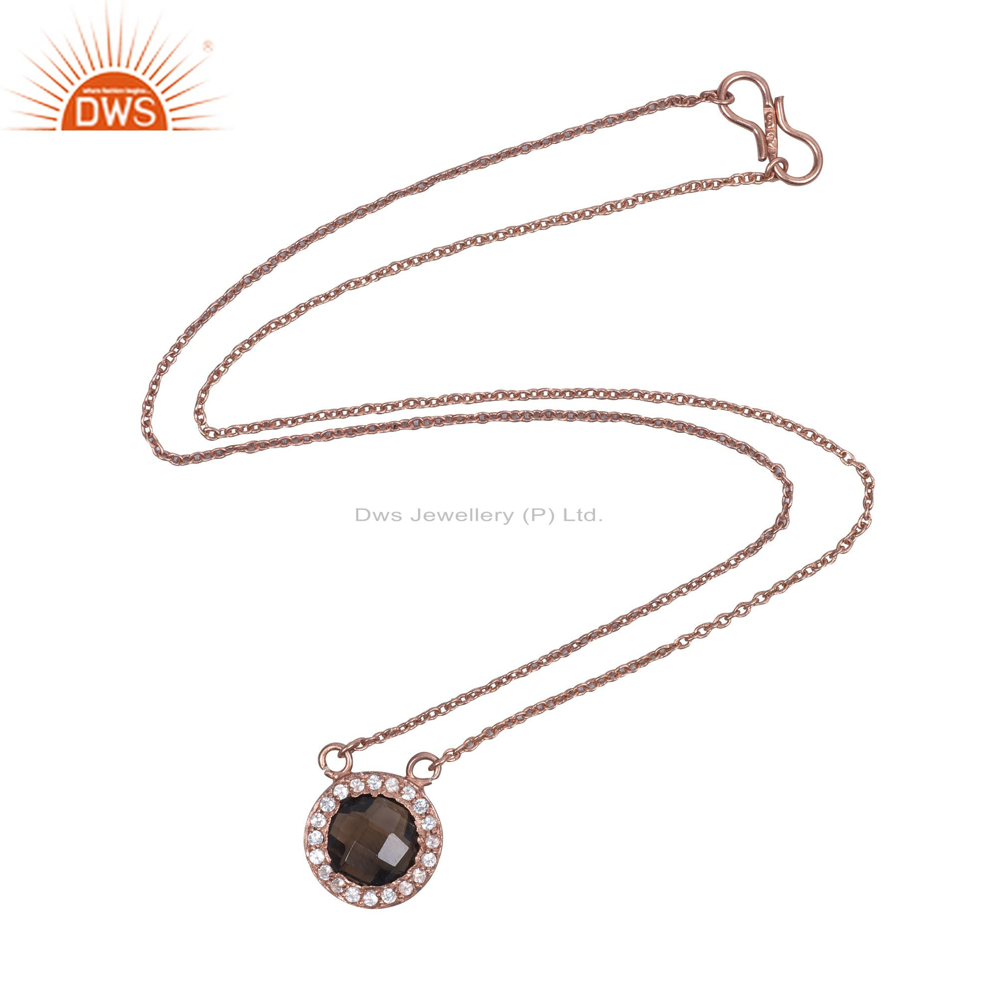 18K Rose Gold Plated Sterling Silver Smoky Quartz And White Topaz Pendant