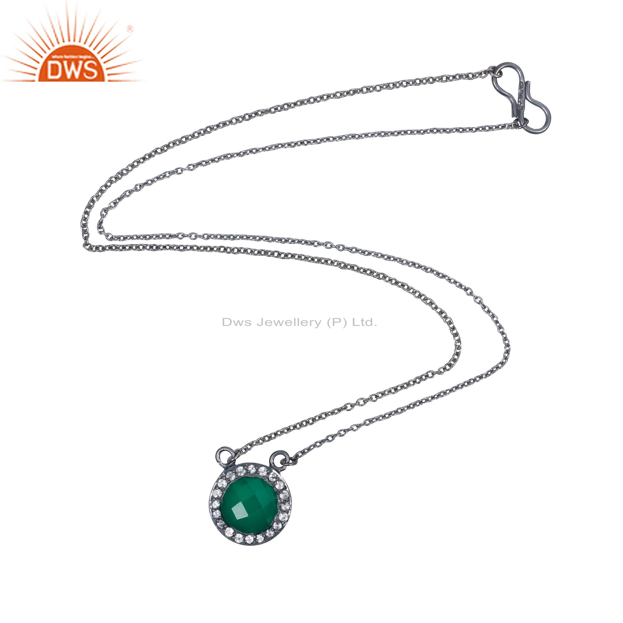 Oxidized Sterling Silver Green Onyx And White Topaz Halo Pendant Chain Necklace