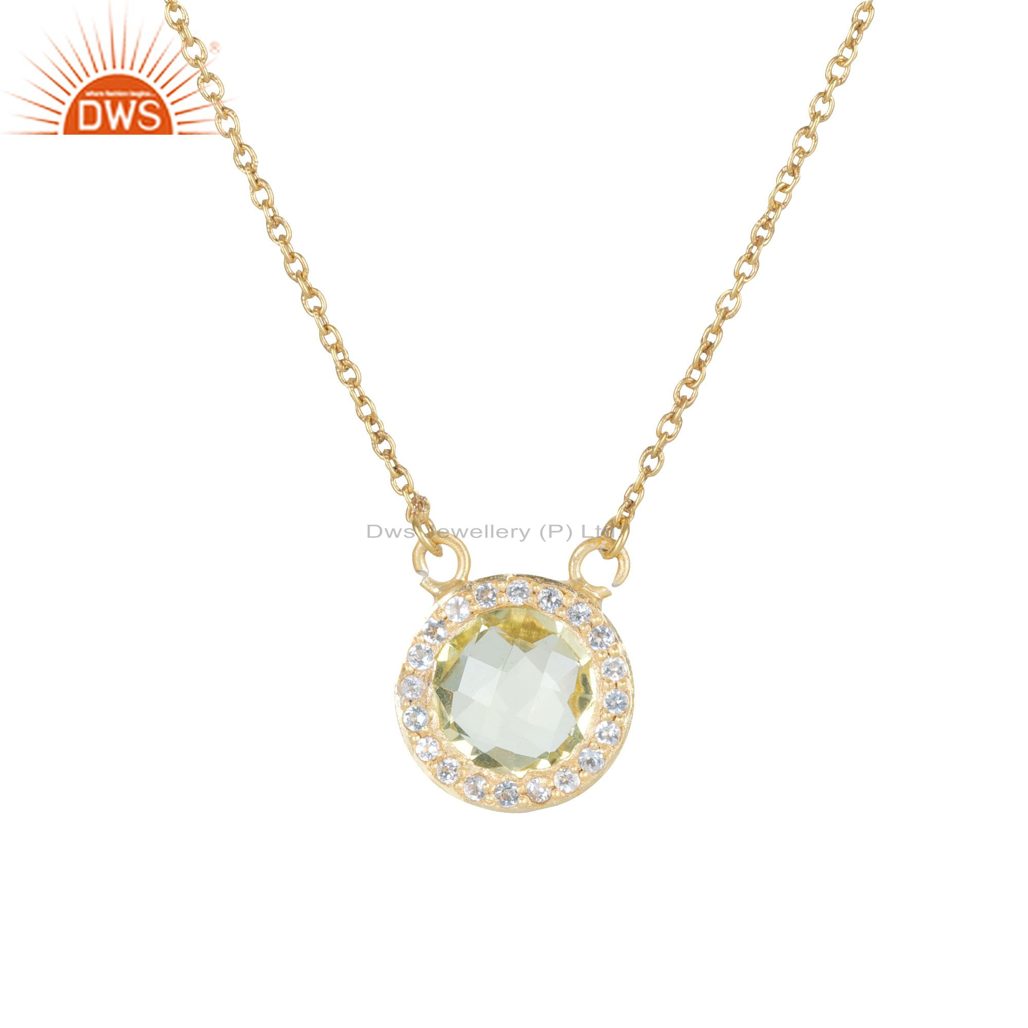 18K Gold Plated Sterling Silver Lemon Topaz And White Topaz Pendant Necklace
